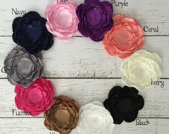 Free Shipping Satin Flower Layered Flower Customize Flower Baby Girl Hair Accessory Fabric Flowers For Headbands Craft Flower Supplies 9cm