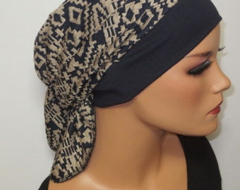 Head scarf Hat/CHEMO Hat dark taupe ideal for chemotherapy hair loss alopecia cancer instead of wig