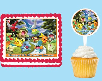 Pokemon Edible Cake Cupcake Cookie Toppers Decorations  Or Plastic cupcake pick top for birthday party