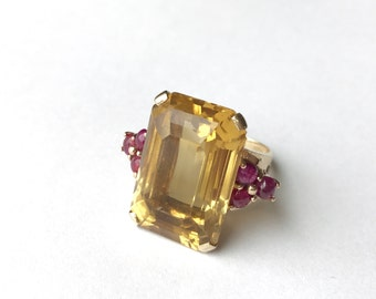 Silver rings for her - Citrine cocktail ring