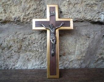 Brass and wood crucifix