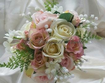 Silk Rose and Stephanotis Bridal Bouquet