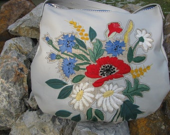 Crossbody Floral  Embrodery leather Bag