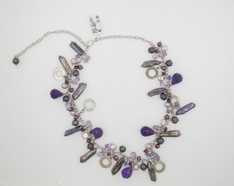 Ladies Lovely Handmade Necklace with Purple Amethyst Stones and Light Pink Fresh Water Pearls and Silver 925 Chain