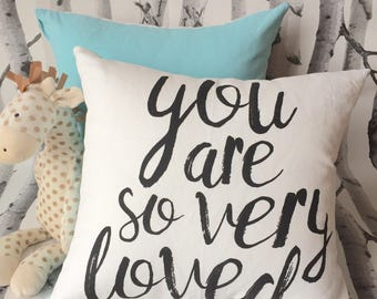 You Are So Very Loved on blue Throw Pillow Cover