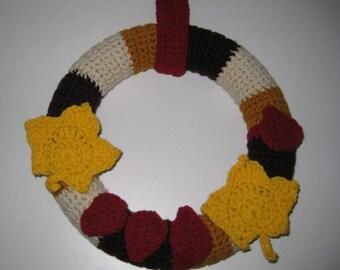 "Beautiful 12"" Crochet Autumn/Fall Wreath"