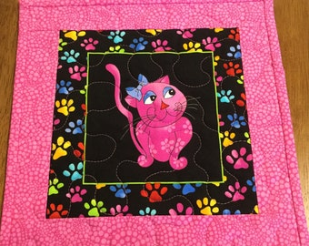 Cat Lover Mug Rug, Cat Mug Rug, Cool Cats Mug Rug, Kitty Rug Mug, Cat Snack Mat, Kitty Snack Mat, Quilted Mug Rug, Pink Mug Rug