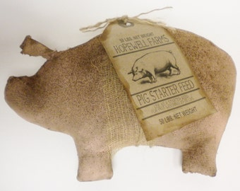 Primitive Pig - Made To Order, Shelf Sitter Pigs, Country Decor, Primitive Animals