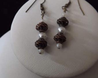 Bronze Spiral Pearl Drop Earrings