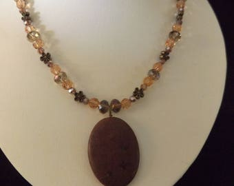 Brown Stone Pendant on Beaded Necklace