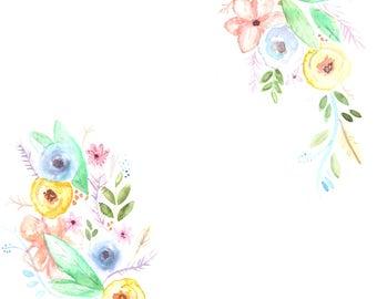 Customizable Nursery Art, Nursery Flowers, Customizable Flowers, Watercolor Flowers, Name, Letter, Quote, Baby Girl, Nursery Decor