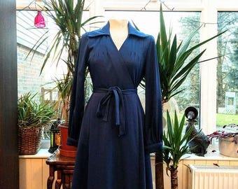 80's does 50's Blue Long Sleeve Dress