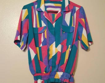Vintage Colorful 90's Retro Button Down Blouse