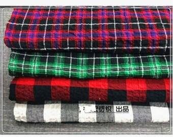 bubble cotton lattice fabric grid check plaid materials for t shirt top blouse bags desk cover