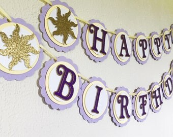 Tangled Birthday Banner - Tangled Party - Tangled Theme - Tangled Theme Birthday - Tangled Name Banner