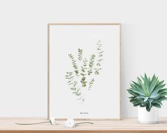 Eucalyptus print - Eucalyptus printable - Botanical print - Jungalow print - Eucalyptus leaves - Green leaf print - Printable watercolor
