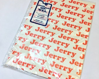 Vintage Wrapping Paper, Personalized Wrapping Paper, Jerry Wrapping Paper, Vintage Gift Wrap, Gift Wrap for Jerry, Personalized Gift Wrap