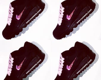 Black Nike Trainers With Light Pink Swarovski Crystals and Silk Ribbon Laces - Crystalella Barbie Kicks Sneakers Gym