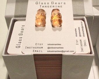 Tangerine Glass Bear Earrings