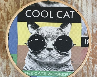 Cool Cat embroidery hoop wall hanging
