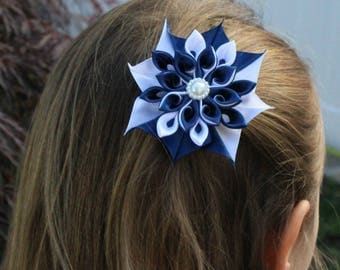 Hair Clips, Flower Girl, Wedding, Party, Kanzashi Flower Hair Clip, Accessories, Baby Shower, Hair Clip, White, Navy, and Pink, Girl Clip,