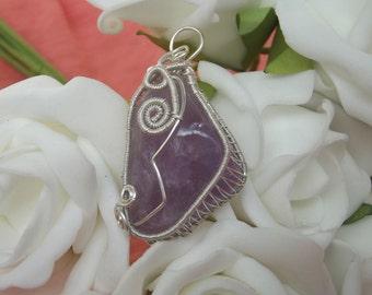 Amethyst wirewrapped pendant - handmade