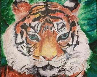 Tiger / Tigress Handmade Acrylic Painting on Canvas