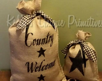 Country Welcome Burlap Sack Handmade Stenciled Burlap Bags Country Home Decor Rustic