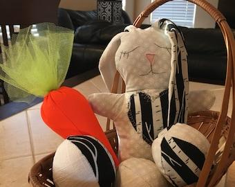 Black & white easter bunny rabbit set