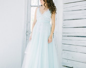 Light turquoise blue and white wedding dress, tulle bridal gown, lace wedding dress, light green
