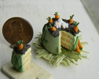 Easter Cake, Miniature Food,12th Scale, Dollhouese Food, Miniature Easter Cake, Dollhouse Easter, Easter Decor, Green Cake, rabbit, carrot