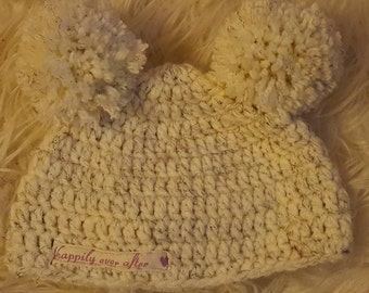 Double Pom Pom Crochet Hat Newborn - Adult sizes