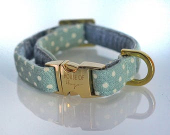 The Camilla - Dog Collar, Pastel Grey Polka Dot