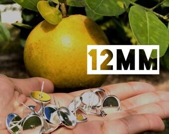 12mm Silver Tone Tray Cabochon Stud Earrings Setting 10pcs