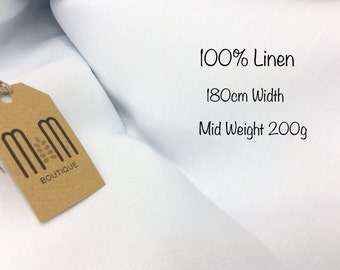 Optical White 100% Pure Linen Fabric Mid Weight 200g / Width 180cm