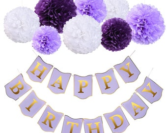 Mudder Happy Birthday Banner Pom Pom Flowers with 4 Meters String for Birthday Party Decoration
