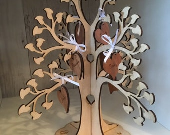 Wooden FAMILY 3D TREE PERSONALISED with Individually Engraved Hearts. Laser engraved, unique gift/ornament, Keepsake