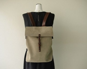 Suede leather rucksack