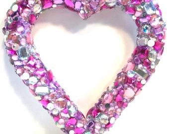 Jeweled/ Heart/Wreath/Valentine/Valentines Day/Decoration/Decor/Pink/Love