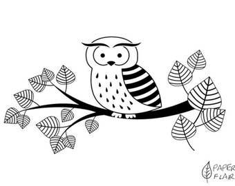 Stamp OWL on Branch (AO-25)