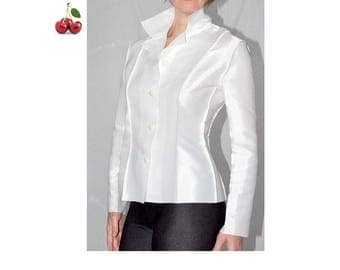 Vintage white blouse 80's edgy designer white satin blouse shirt shiny long sleeve shirt fitted metal cyber