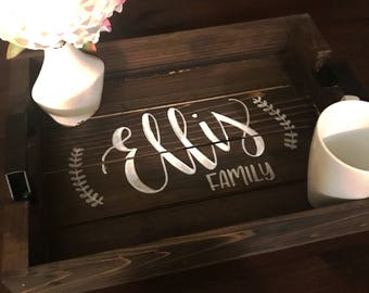 Personalized Wooden Serving Tray - Hand Lettered