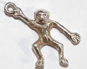 Vintage Sterling Silver Bracelet Charm 3d Monkey Solid Silver (2.5g)