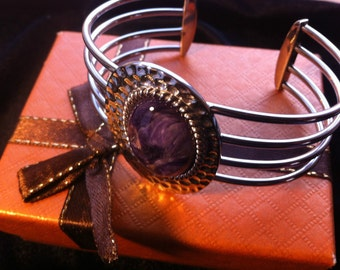 Cuff Bracelet stainless steel with Russian Charoite Crystal