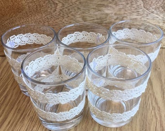 5 Handmade glass centre piece tea light holders - lace vintage shabby chic rustic wedding