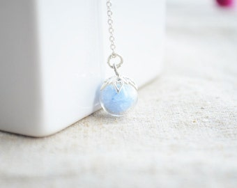 Blue Sand Luminous Glow In The Dark Silver Necklace Woman Boho Jewelry Vintage Gift