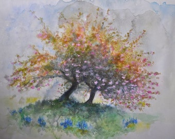 Apple Tree Spring by H A May Original Watercolour