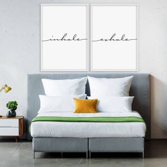 Inhale Exhale Print Yoga Pilates Poster Relaxation Gifts Breathe Inspirational Minimalist Typography Art