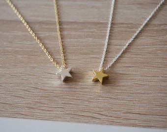 Star, plate necklaces silver, gold plated, necklace - bridesmaid gift - witness weeding gift