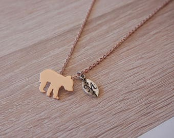 original Pooh necklace, gold rose pink gold, design necklace trend - mama bear original
